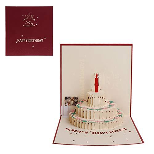 ❤Yintiod 3D Pop Up Grußkarte Happy Birthday Cake Musik LED Postkarte mit Umschlag Neu