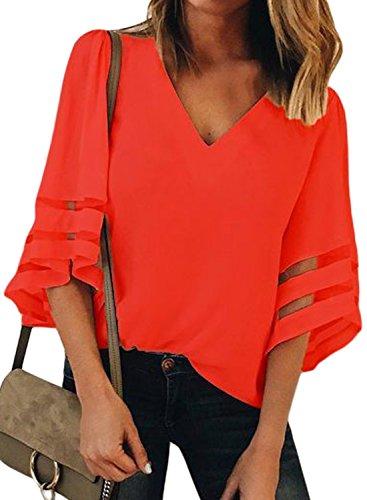FIYOTE Damen T Shirt Sommer Frauen Bluse Chiffon Shirt Damen Tops Hemd Kurzarm Oberteile Casual Frauen Blusenshirt Rot XL