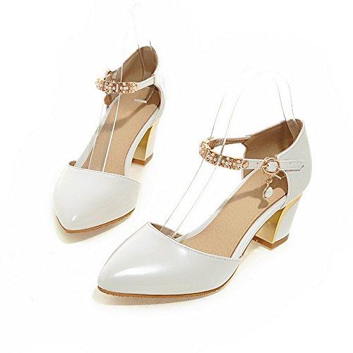 Adee Mesdames brevet l'École Chaussures Pompes en cuir Blanc - blanc