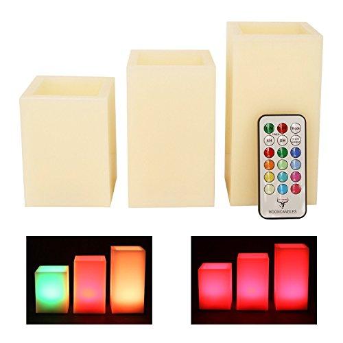 Mooncandles - Juego de 3 velas cuadradas con aroma de vainilla y mando a distancia para cambiar el color (10,1, 12,7 y 15,2 cm)