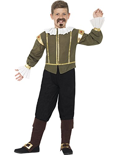 Confettery - Jungen Karneval Kostüm Shakespeare, Mehrfarbig, Größe 122-134, 7-9 Jahre
