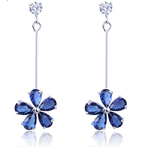 Yazilind Dazzling Rhodium Plated Sapphire Blue Flower Teardrop Cut Cubic Zirconia Dangle Claw