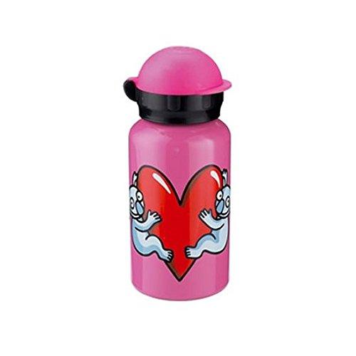 Kukuxumusu Botella Infantil de Aluminio 0,35L Rosa Tapón HIT
