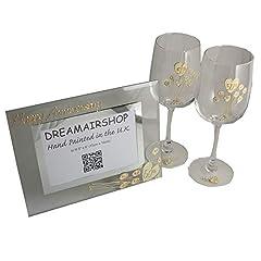 Idea Regalo - 50° Anniversario Di Matrimonio D'oro Bicchieri Da Vino e Cornice Foto Set Regalo