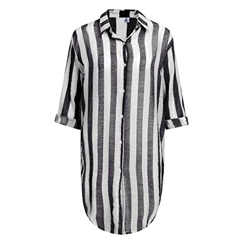 Fghyh Damen Sweatshirt Langarm ShirtFrauen Langarm gestreiften Schal Beachwear Cardigan Tops vertuschen Bluse(M, Schwarz)