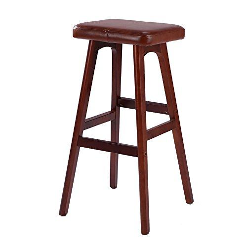 Zaixi sgabello da bar in legno massello al 100% con lussuosa seduta simil-legno, attrezzo artigianale a barre, altezza 79 cm ( colore : brown b )