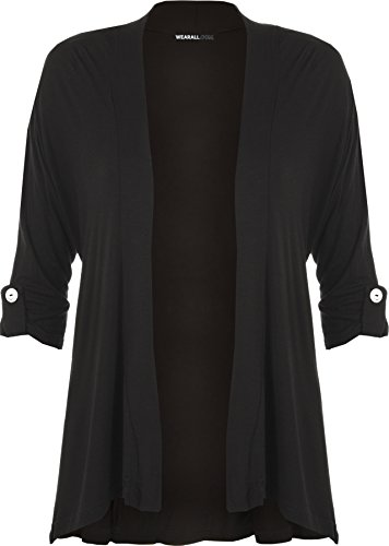 WearAll New Ladies Plus Size Short Sleeve Button Open Cardigan Womens Stretch Top Sizes 12-26