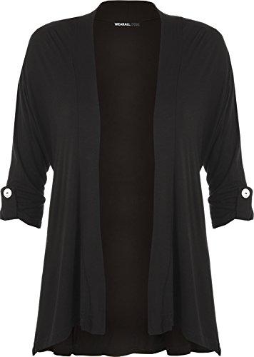 WearAll - Damen Übergröße kurzarm knopf offen Cardigan Top - Schwarz - 48