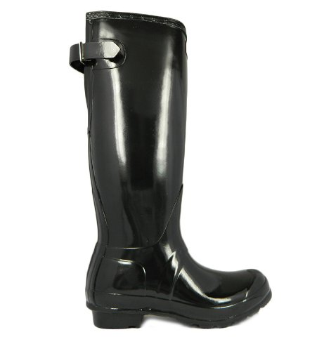 Hunter Original Back Adjustable Gloss, Bottes Femme Noir - noir