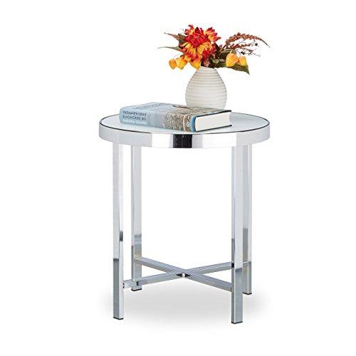 Relaxdays Kaffeetisch Glas, gehärtet, Chrom, Milchglas, Couchtisch, Beistelltisch, Stahl, HBT: 46 x 41 x 41 cm, silber