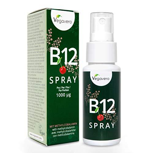 Vitamina B12 en Formato Spray Vegavero® | 1000 mcg diarios | TESTADO EN LABORATORIO | Energía + Estado de Ánimo + Anemia | 25 ml | Apto para Veganos