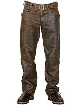 Lederhose Trachtenlederhose Hose Lang mit Zipp Gr.74 speckig Glattleder Gürtel Lässiger Jeans-Schnitt mit Zipp...