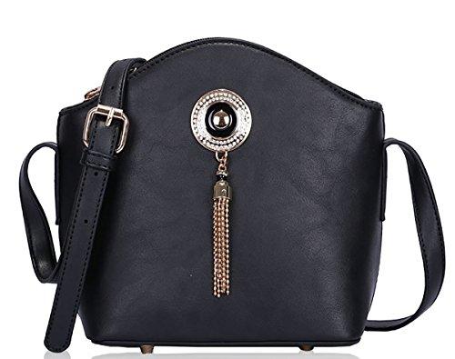 UKFS Mesdames Sienna Jewel Conception Cuir avant fourre-tout postal épaule / sac à main Noir