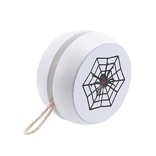 KOBWA Holz Yoyo, Kreative Personalisierte Kinder Spielzeug Yo-Yo Ball mit Cartoon-Muster für Kinder Geschenk Party-Aktivität(Weiß)