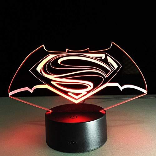 ttljydd Coole 3D LED DC Superman Batman Logo Symbol Nachtlicht Schreibtisch Tischlampe 7 Farbe C