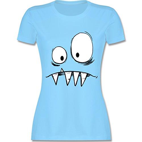 Karneval & Fasching - Monster Kostüm - XXL - Hellblau - L191 - Damen T-Shirt Rundhals