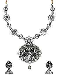 Zaveri Pearls Antique Silver Long Goddess Temple Necklace Set For Women-ZPFK6318