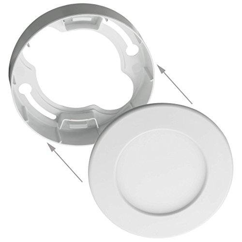 SEBSON® Marco panel LED, redondo Ø115x32mm, plástico, color blanco, Marco montado en...