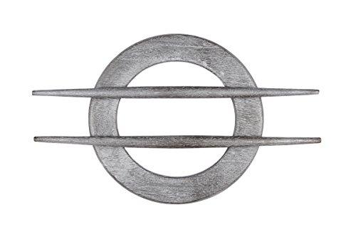 Ruther & Einenkel Dekospange aus Holz rund, grau Silber, Außendurchmesser 15.5 cm/Aufmachung 1 Stück, Kunststoff, 15 x 15 x 0.8 cm
