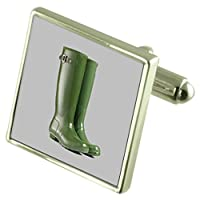 Garden Wellington Boots Sterling Silver Cufflinks Optional Engraved Box