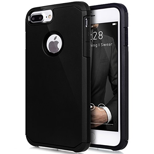 Cover iPhone 7 Plus,Custodia iPhone 7 Plus,ikasus® [Heavy Duty Serie] Hybrid Outdoor Dual Layer Armor Custodia custody sleeve Case Cover per iPhone 7 Plus Custodia Cover [Shock-Absorption] Ultra Sotti Nero