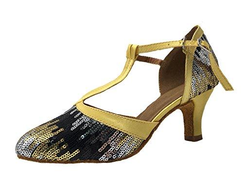 Honeystore Damen's Geschlossene Zehe T-Riemen Glitter Tanzschuhe Pailletten Gold 2.5 UK (Avenue Sandalen Leder)