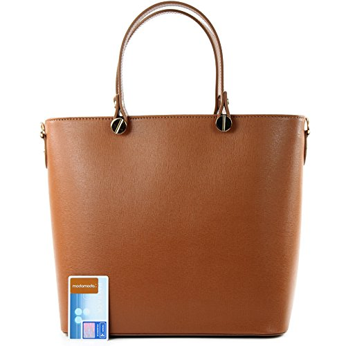 modamoda de - ital. Ledertasche Damentasche Shopper Tragetasche Elegant Echtleder T132 Camel