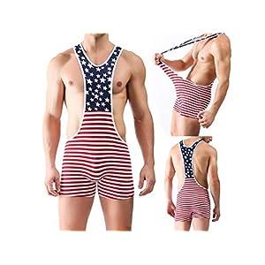 HFjingjing Sexy Kleidung Männer Erotische Overall Sexy Unterwäsche – American Flag Print Homosexuell Unterhose Männlich Fancy Overall für Cosplay Kostüm Dessous – S Cosplay Kostüm