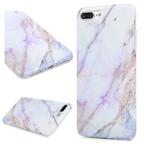iPhone 7 Plus Case, iPhone 8 Plus Case, YOKIRIN Matt Painted Marble Pattern Premium TPU Case Cover Full Protection Soft Silicone Bumper Case Flexible Rubber Grip Shell for iPhone 7 Plus / 8 Plus - Purple