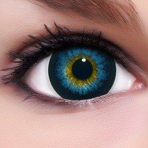 Linsenfinder Lenzera Circle Lenses blaue 'Barbie Blue' ohne und mit Stärke + Kombilösung + Behälter 15mm Big Eyes farbige Kontaktlinsen