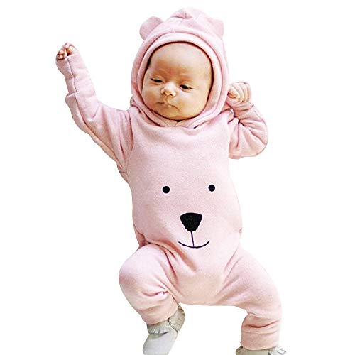 Baby Bodysuit Strampler Strampleranzug Overall, TTLOVE Mädchen Jungen Fleece Hoodie Jumpsuit BäR Säugling Spielanzug Mit Kapuze Overalls Kleidung(Rosa,70 cm)