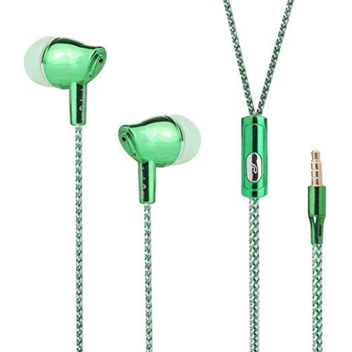 Wokee Kopfhrer L23 Portable Originalität Sport Musik Stereo Headset Kopfhörer In-Ear Sport Kopfhrer, wasserfest In-Ear Stereo headset mit Mikrofon für iPhone, iOS-System, für Samsung, für HTC, andere Mainstream-Android-Handy und Laptops mit einem 3,5-mm-Klinke. (Grün)