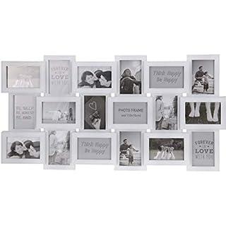 AiO-S - OK Bilderrahmen Collage für 18 Fotos im Format 10 x 15 cm Fotorahmen weiß
