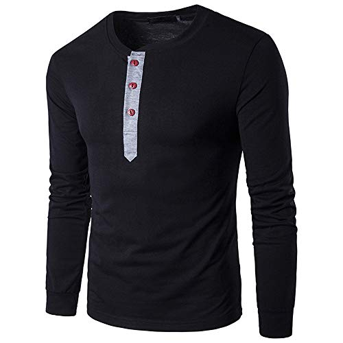 iHENGH Sweatshirt Homme Henry Automne Hiver Casual Splicing Bouton Chemise  à Manches Longues Haut Chemisier Basic af3f039abbd
