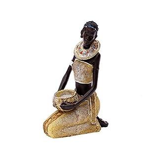Afrikanische Dekofigur Frau Deko Figur Afrika Skulptur Statue Massai Afrikanerin Groß Zulu Schale Mit Schüssel Krug Stehend Kniend 21 cm groß Brillibrum Flyer (Figur kniend)