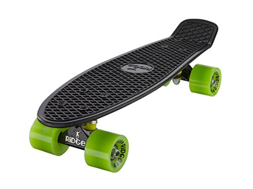 """Ridge 22"""" Mini Cruiser Board Retro Skateboard, komplett ausgerüstet, Limited Edition, weiß o schwarze Achsen, völlig in der EU entworfen und hergestellt"""