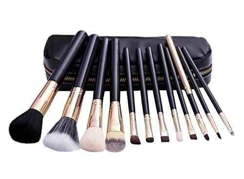 Set De 12 Maquillage Pinceaux - Poils De Chèvre Et Nylon, Virole En Aluminium, Manche En Bois Naturel, Sac Similicuir Noir [version:x8.9] by DELIAWINTERFEL