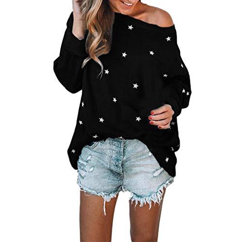 Wrangler Kinder-jeans (ESAILQ Frauen Mädchen Strapless Star Sweatshirt Langarm Crop Jumper Pullover Tops (XL, Schwarz-X))