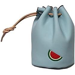 DaoRier Mini Clutch Frauen Brieftasche Leder Frucht-Stickmuster Persönlichkeit Brieftasche Münzfach für Mädchen