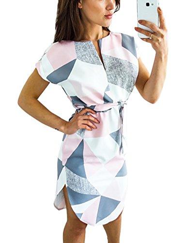 Damen Kurzarm V-Ausschnitt Blumenmuster MaxiKleider Abendkleid Lange Weiß Strandkleid (Rosa M) (Rosa Und Weißen Strand Bälle)