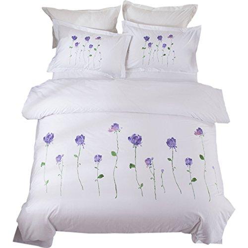 Bettwäsche Bettbezug Garten Stickerei Bettbezug Sets Doppelbett einzelne Stickerei Quilt Bettwäsche und Kissenbezüge, 4ST,Queen 200*230cm