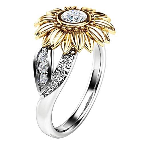 Tone Sonnenblume (LABIUO Exquisite Women's Two Tone Silver Edelsteinring Sonnenblume Runder Kranz Edelsteinring(B,Freie Größe)