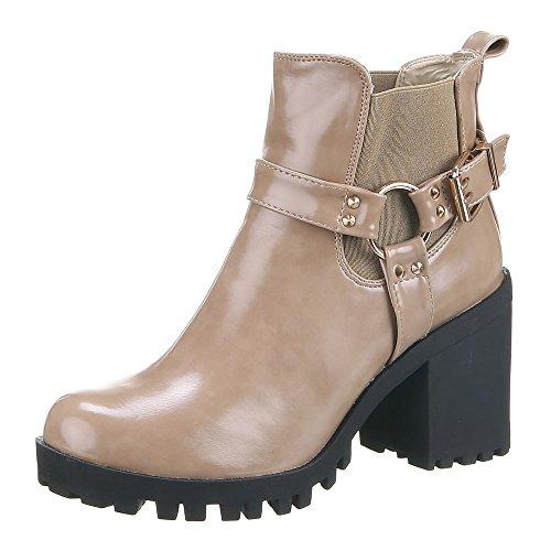 Damen Schuhe, IR-508, STIEFELETTEN Hellbraun