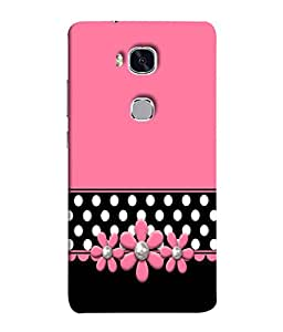 Fuson Designer Back Case Cover for Huawei Honor 5X :: Huawei Honor X5 :: Huawei Honor GR5 (Black Polka Dots Flowery Flowers )