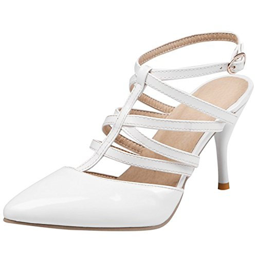 Oasap Women's Pointed Toe Strap Gladiator Stiletto Pumps White