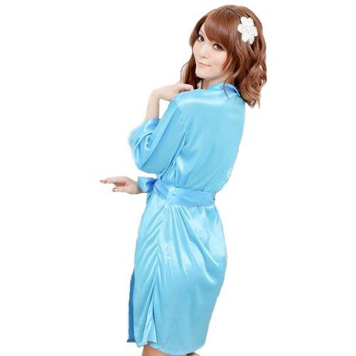 Aolevia Sexy Robe de Nuit En Satin Lingerie Nuisette Avec Dentelle Robe Chambre de Nuit(EU Taille 34 -40) Bleu