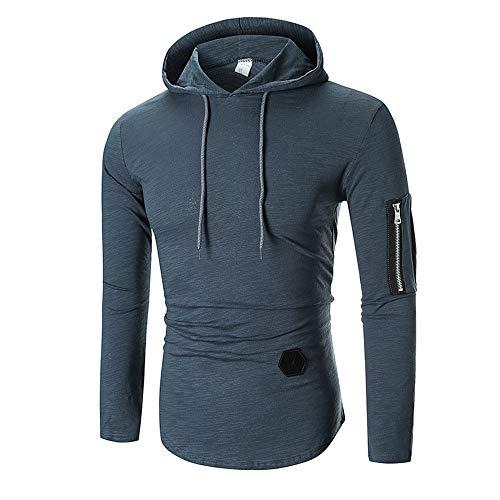 Herren Kapuzenpullover,TWBB Einfarbig Diagonaler Reißverschluss Pullover Unregelmäßig Sweatshirt Herbst Winter Lange Ärmel Mantel Outwear Sweatjacke Hemd