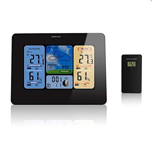 Wetterstation mit Außensensor Innen und Außen Funkwetterstation mit Farbdisplay Digital Thermometer Hygrometer Regenmesser und Uhrzeit Anzeige