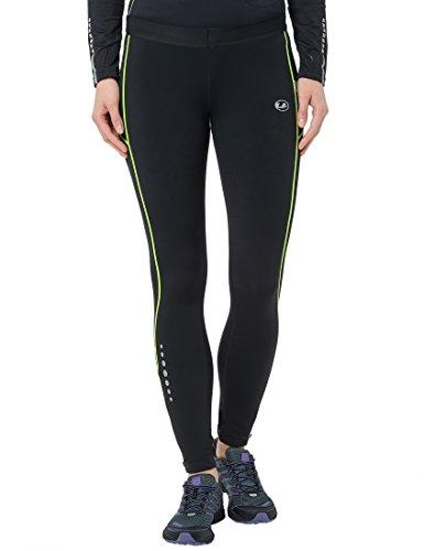 Ultrasport Damen Laufhose Gefüttert mit Kompressionswirkung und Quick-Dry-Funktion Lang, Schwarz/Neon Gelb, XS