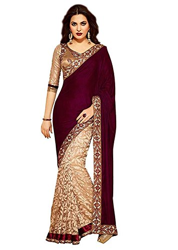Amiga Women's Velvet & Rassal Net Saree With Blouse Piece(Maroon_Freesize)